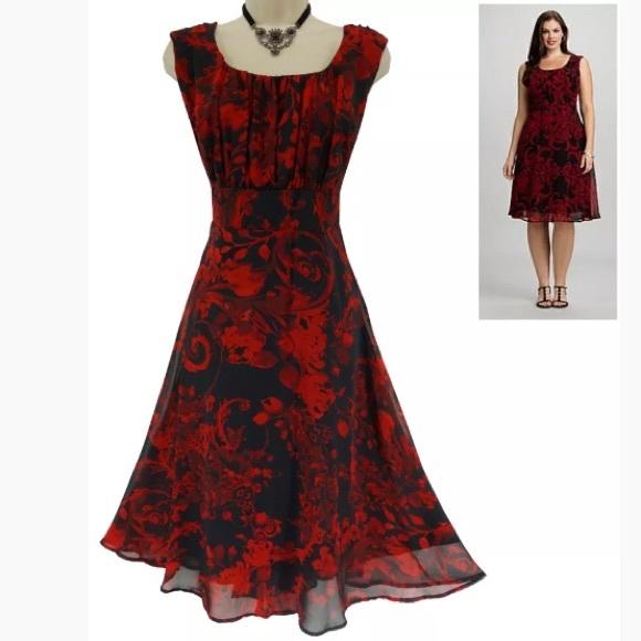 93eae7dd977 Dress Barn Dresses   Skirts - 18W 2X▫️ELEGANT RED BLACK CHIFFON DRESS Plus